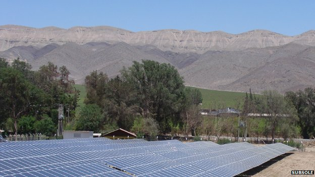 solar panels at Subsole installation in Atacama Desert