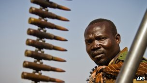 A SPLM-North soldier on the frontline at Mufalu