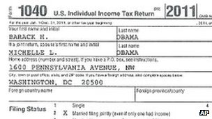 Barack Obama's 2011 tax return, as released by the White House on 13 April 2012