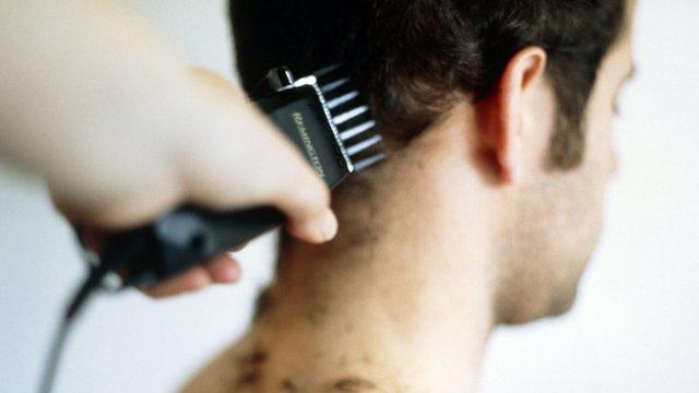 Man having haircut