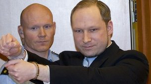 In this photo dated on February 6, 2012 Norwegian right-wing extremist Anders Behring Breivik 