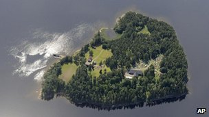An aerial view of Utoeya Island, Norway, July 21, 2011