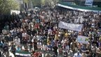 Demonstrators protest against Syria's President Bashar Al-Assad after Friday prayers in Kafranbel, near Idlib April 13, 2012