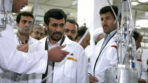 Iranian President Mahmoud Ahmadinejad is shown round the Natanz uranium enrichment facility (April 2008)