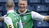 Garry O'Connor celebrates for Hibs