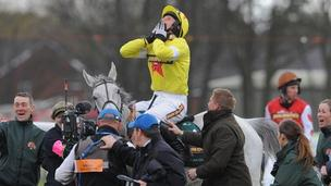 Daryl Jacob celebrates victory on Neptune Collonges