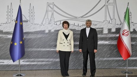 Iran&#039;s Chief Nuclear Negotiator Saeed Jalili, right, and EU Foreign Policy Chief Catherine Ashton pose for cameras before their meeting in Istanbul, Turkey, 14 April 2012