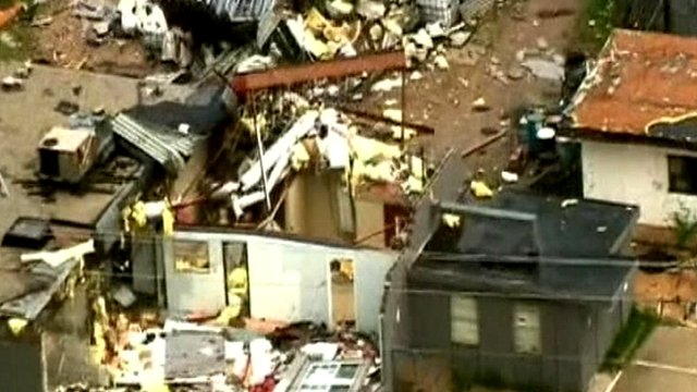 Buildings damaged by storms in Oklahoma