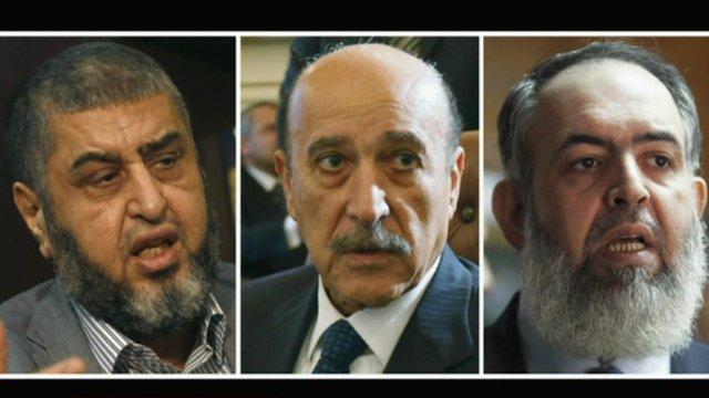 Muslim Brotherhood candidate Khairat al-Shater, Omar Suleiman and Salafi preacher Abu Ismail