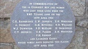 Guernsey Titanic Plaque