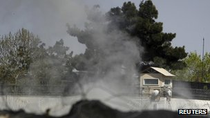 Smoke rises from tower at British embassy in Kabul on 15 April 2012
