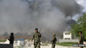 Smokes rises from attack scene in Jalalabad