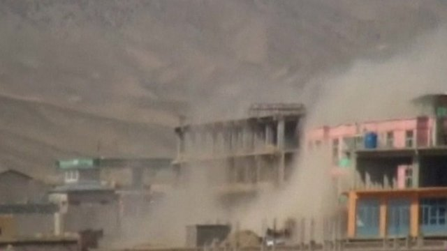 Smoke coming from buildings in Kabul after Nato air attack