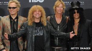 Matt Sorum, Steven Adler, Duff McKagan and Slash of Guns N' Roses