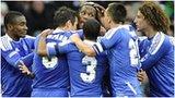 Chelsea celebrate Didier Drogba's goal