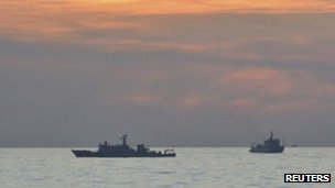 Two Chinese surveillance ships near the Scarborough Shoal on 10 April, in image via Philippine military