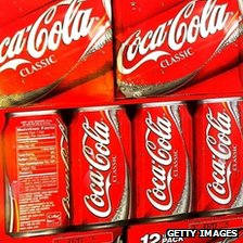 Cans of Coca-Cola Classic