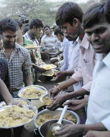 Dalit students eating beef biriyani at the Osmania University in Hyderabad