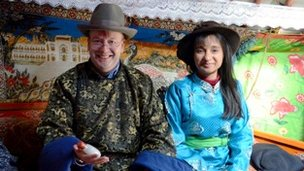 Rekha and Derek in traditional Mongolian dress!