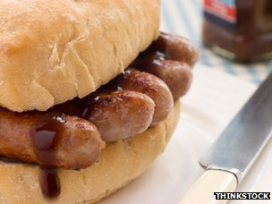 Sausage buttie with brown sauce