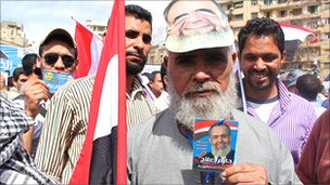 Supporter, Abdullah Mohammed, at a rally for Hazem Abu Ismail