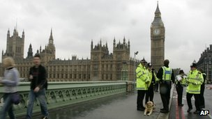 Police with sniffer dogs on patrol