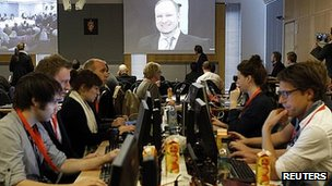 Press room at the Breivik trial in Oslo. 16 April 2012
