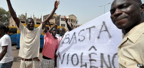 A demonstration in front of the national assembly in Bissau on 15 April 2012
