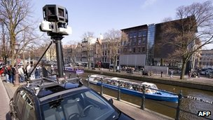 A Google Street View car in Amsterdam