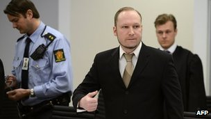Anders Behring Breivik. 17 April 2012