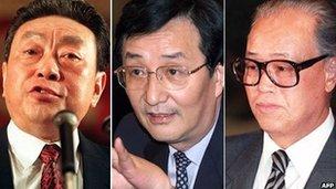 From left: Chen Xitong, Chen Liangyu, Zhao Ziyang