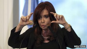 Argentine President Cristina Fernandez de Kirchner gestures while speaking at the Casa Rosada presidential palace in Buenos Aires, 16 April