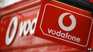 Logo outside a Vodafone store