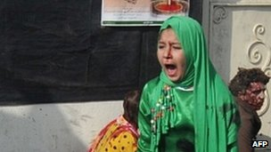 Tarana Akbari crying after a suicide bomber&#039;s attack at a shrine in Kabul