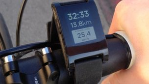 Pebble watch on a bike