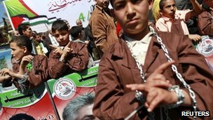 Children rally in Gaza City in solidarity with Palestinians held in Israeli jails