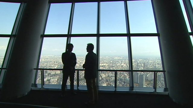 Roland Buerk standing in Tokyo's Skytree
