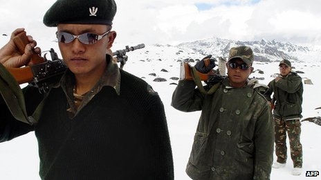 Indian army soldiers patrol near the border with China in Arunachal Pradesh - 31 October 2003