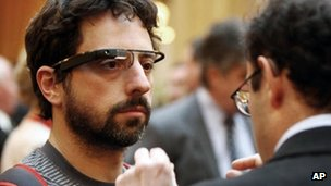 Sergey Brin wears Project Glass prototype