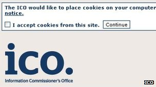 ICO cookie permission box screenshot