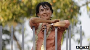 Burma&#039;s pro-democracy leader Aung San Suu Kyi  celebrates Thingyan, Burma&#039;s new year water festival, in front of her home in Yangon 16 April, 2012