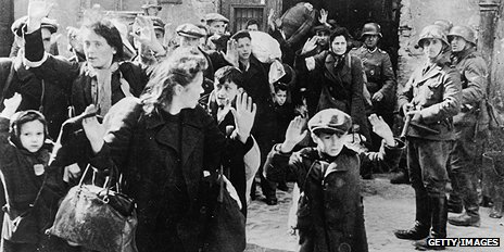 Civilians rounded up by German troops