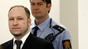 Anders Behring Breivik arriving for the third day of his trial in Oslo (18 April)