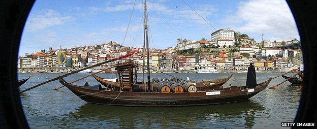 Wine boats in city of Porto