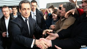 Nicolas Sarkozy greets voters in Morlaix, western France, 17 April