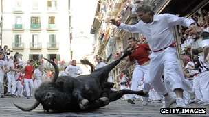 A bull falls in the San Fermin bull run in Spain