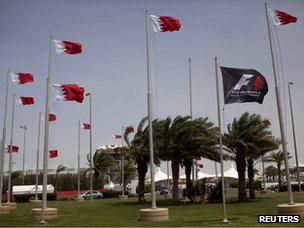 Bahraini flags at the Bahrain International Circuit (18 April 2012)