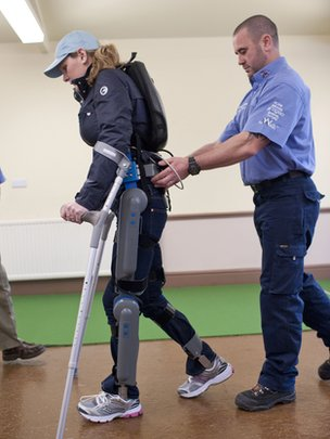 Claire Lomas wearing the &quot;robot legs&quot;