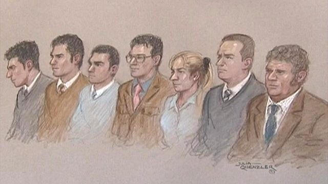 Artist&#039;s impression of the seven accused in the dock