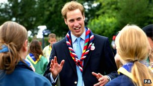 The Duke of Cambridge with scouts